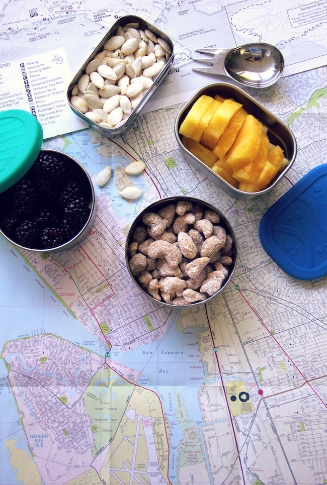 healthy snacks and map