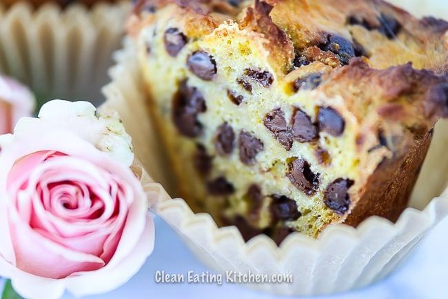 cassava flour chocolate chip muffin cut in half