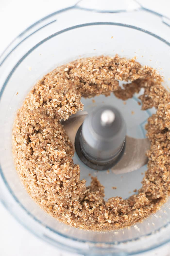 no bake pumpkin cookie mixture in a food processor