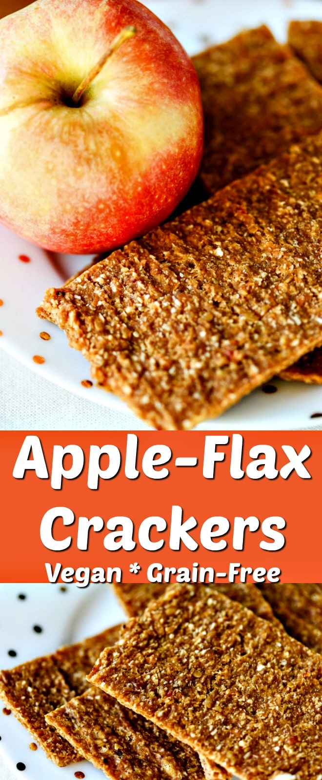 These healthy Apple-Flax Crackers are made raw and vegan using the dehydrator. They're a sweet and healthy treat! | #apples #healthyfood #glutenfree #rawfood #grainfree #rawvegan