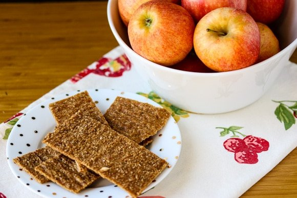 Raw apple flax crackers