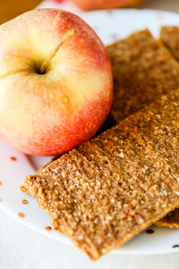 Apple flax crackers up close