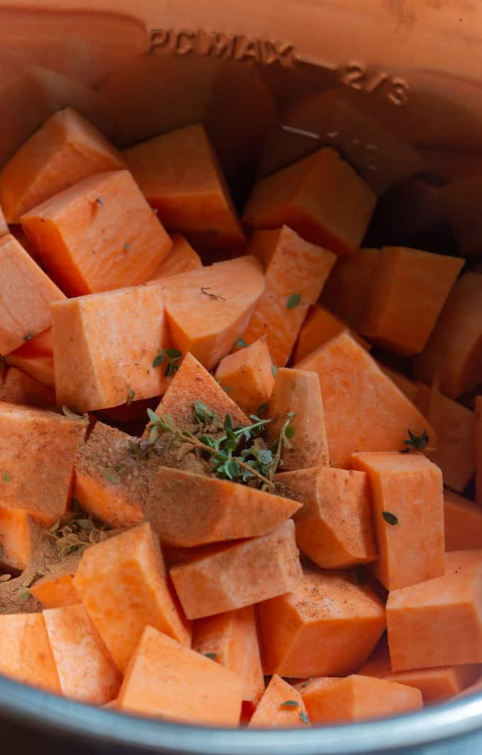 instant pot mashed sweet potatoes process shot