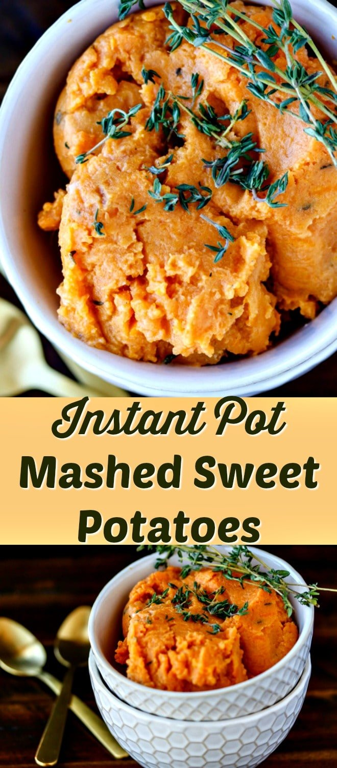 This recipe for easy mashed sweet potatoes literally takes 8 minutes under pressure, and you end up with a silky-smooth, delicious dish that is perfect for weeknight meals or holidays. Pressure cooker, instant pot, paleo, vegan, thanksgiving.