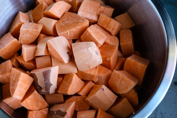 Peeled and chopped sweet potatoes