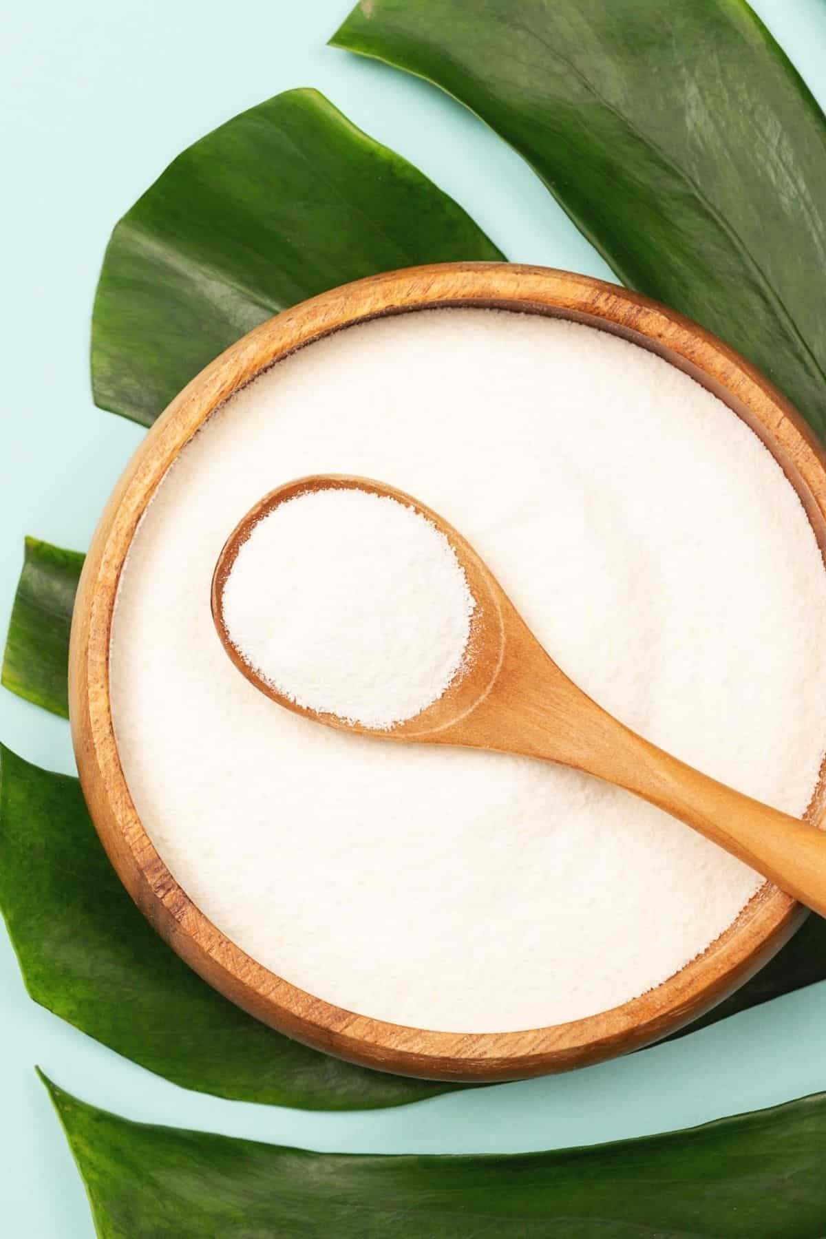 bowl of powdered collagen protein on top of a palm leaf