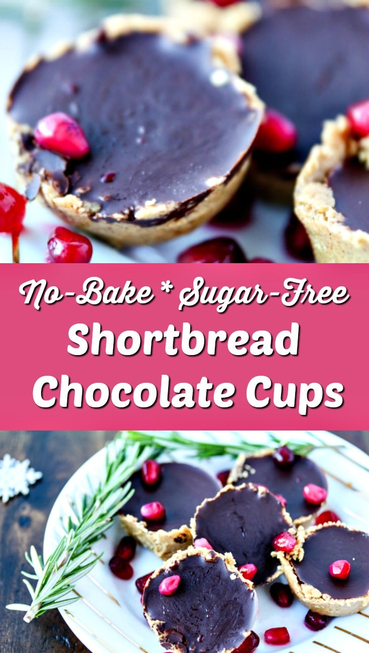 It's officially the holiday season! I'm kicking it off with these No-Bake Shortbread Chocolate Cups that are grain-free and made with no sugar at all. | #sugarfree #holidays #healthyrecipe #cleaneating #chocolate