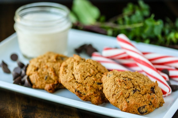 cassava chocolate chip cookies with milk