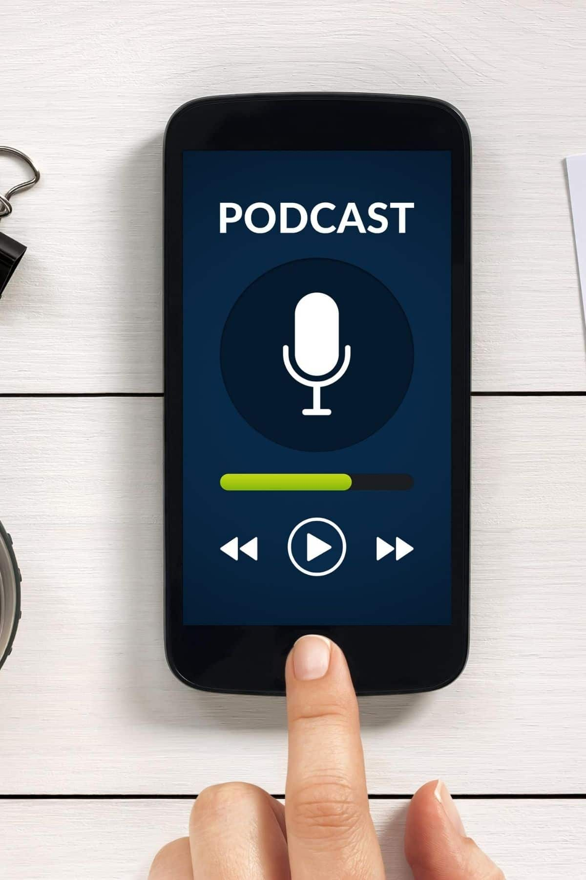 iPhone with a graphic of a podcast