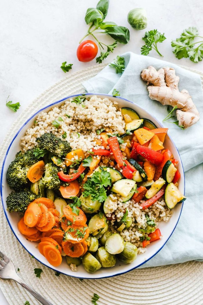 healthy salad with couscous