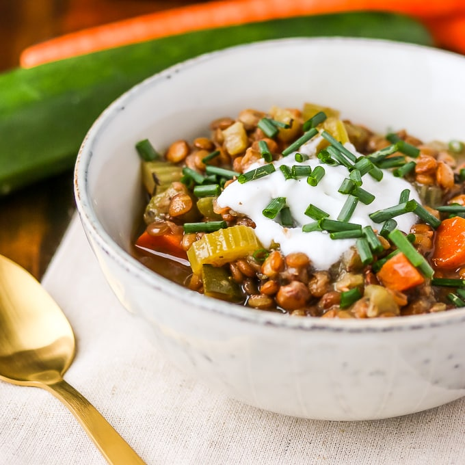 instant pot lentil soup with zucchini and carrot