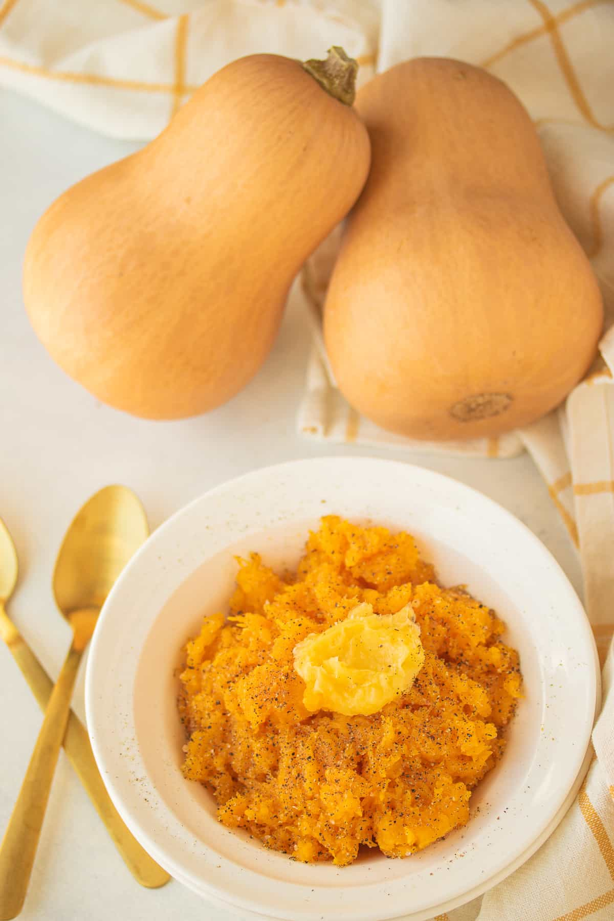 whole butternut squash next to a bowl of squash puree