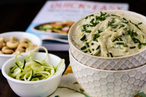 vegan spiralized mac cheese with quick and easy spiralizer cookbook and ingredients