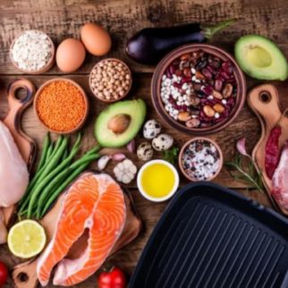 Healthy food cooking. Meat, fish, vegetables,pan for cooking grill. Healthy eating concept. Top view