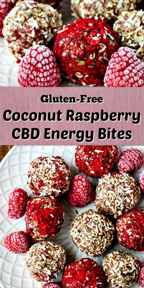 Coconut Raspberry CBD Energy Bites collage