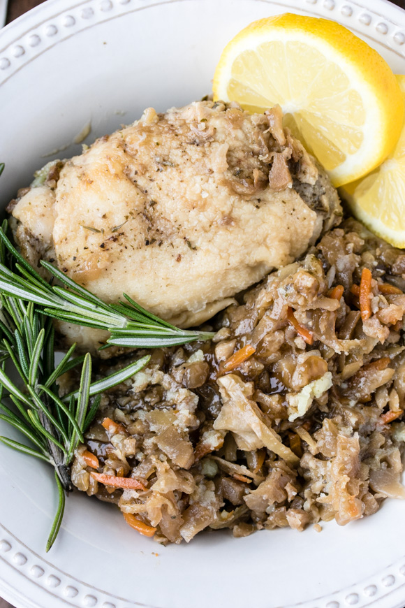 Crockpot chicken thighs and veg with rosemary and lemon