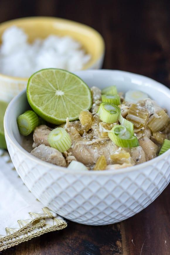Coconut Chicken Instant Pot in white bowl