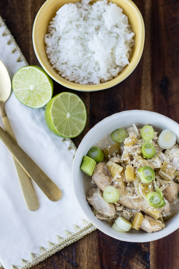 Coconut Chicken Instant Pot with gold spoons