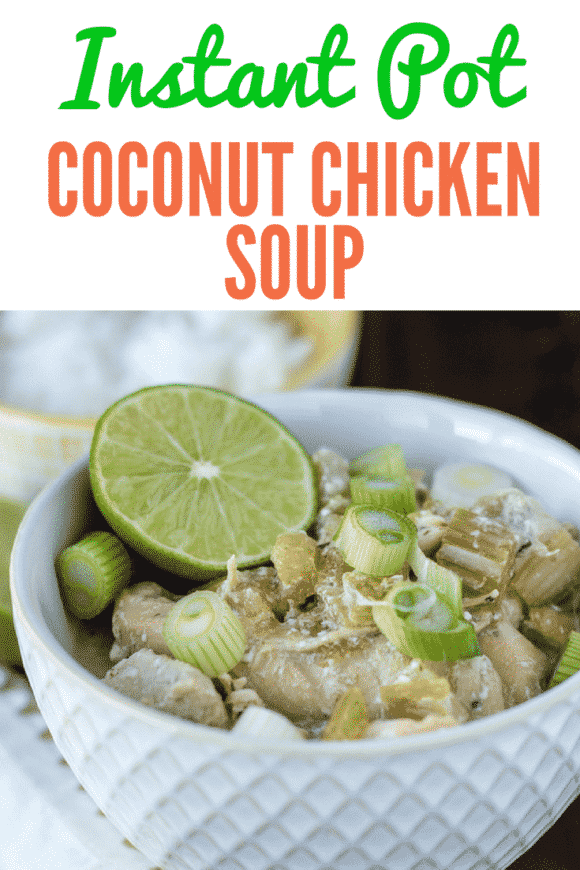 This Instant Pot Coconut Chicken recipe is a 30-minute meal with only five ingredients. I recommend serving it with cooked rice or cauliflower rice and a squeeze of fresh lime for a satisfying and flavorful meal. #instantpot #chickensoup #coconut #chickenrecipe #30minutemeal #instapot #keto #chickendinner