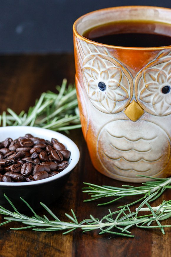 rosemary with coffee beans and owl mug