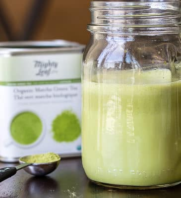CBD Matcha latte in jar with matcha tea