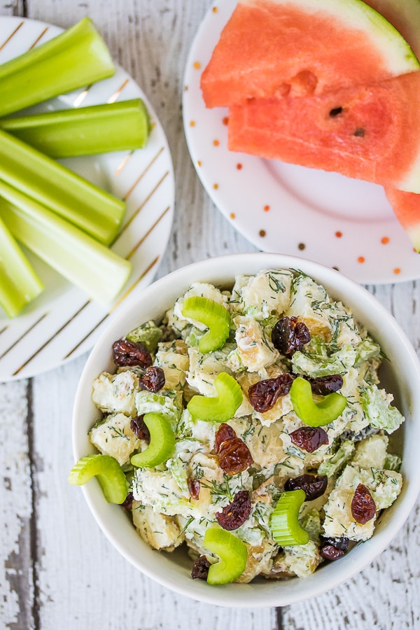 instant pot easy potato salad with celery sticks and watermelon