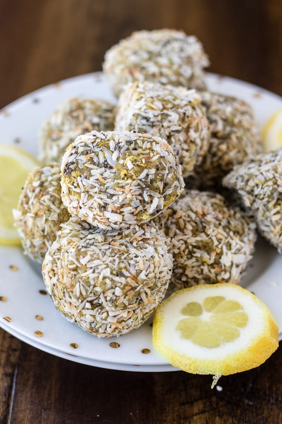 lemon poppy seed bites stacked