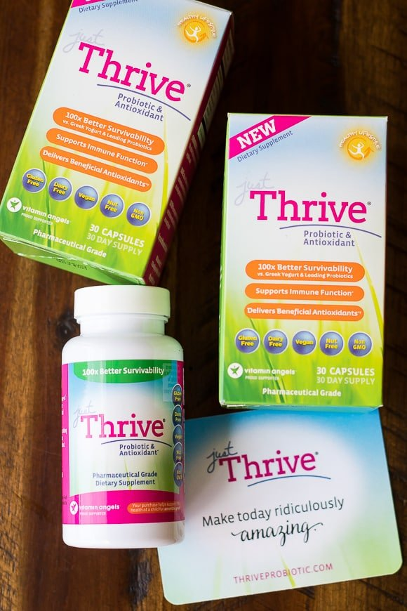 Just Thrive Probiotics boxes and bottle