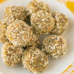 lemon energy balls stacked on a plate