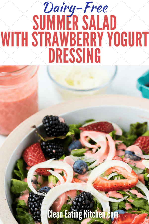 dairy free strawberry yogurt dressing summer salad