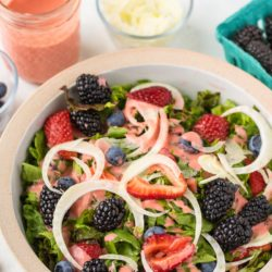 simple salad with strawberry dressing
