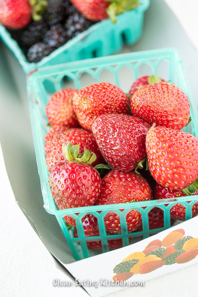 farmers market local strawberries from California in baskets