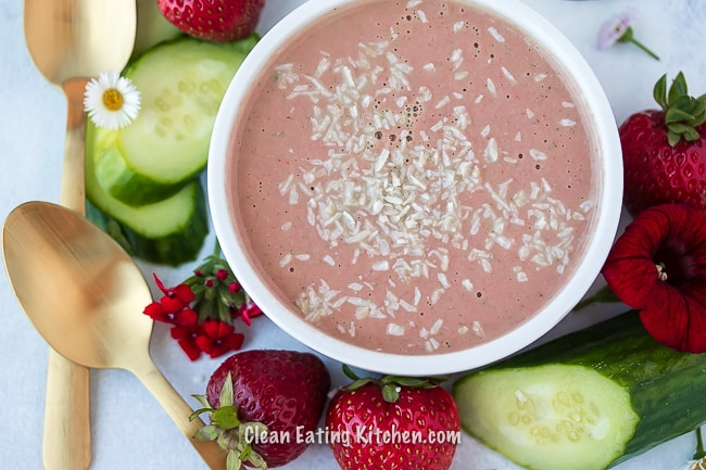 chilled vegan strawberry cucumber soup