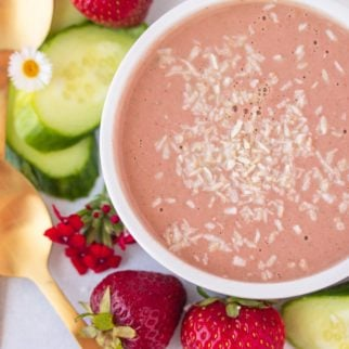 bowl of strawberry cucumber soup