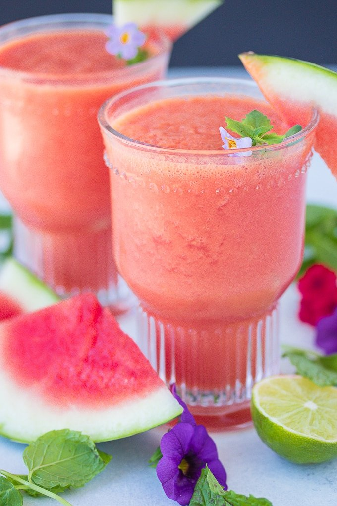 watermelon smoothie in two glasses
