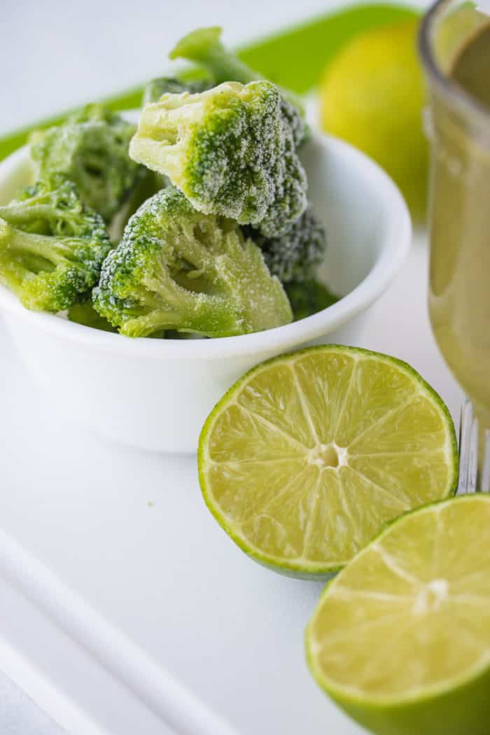 frozen broccoli florets and fresh lime