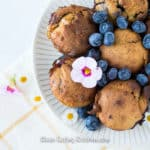 gluten free blueberry white chocolate muffins with flowers