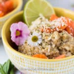 instant pot tropical steel cut oats in yellow bowl