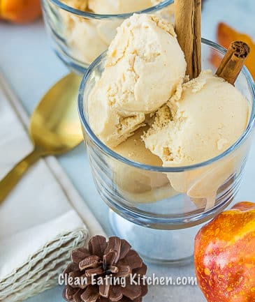 vegan pumpkin ice cream with gold spoons