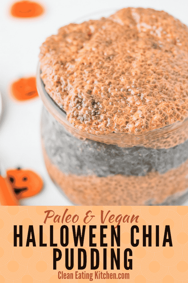 This Halloween Breakfast Chia Pudding makes a fun and healthy Halloween food. It's gluten-free and dairy-free, paleo and vegan! #halloween #vegan #paleo #dairyfree #glutenfree #halloweenfood #halloweendessert #chiapudding