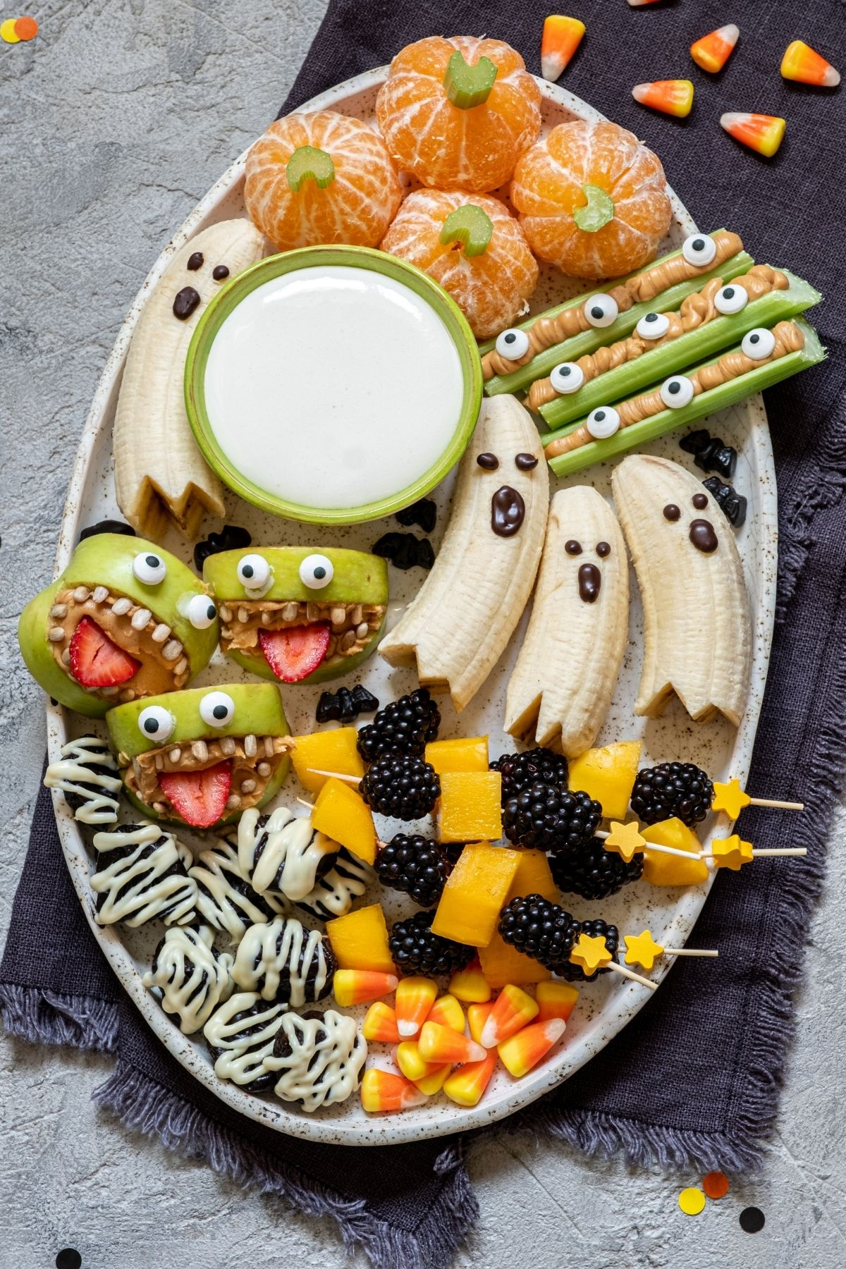 healthy halloween tray
