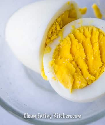instant pot hard boiled egg in glass dish