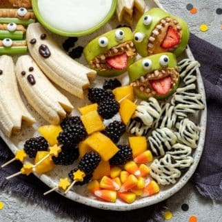 platter of healthy halloween treats for a party
