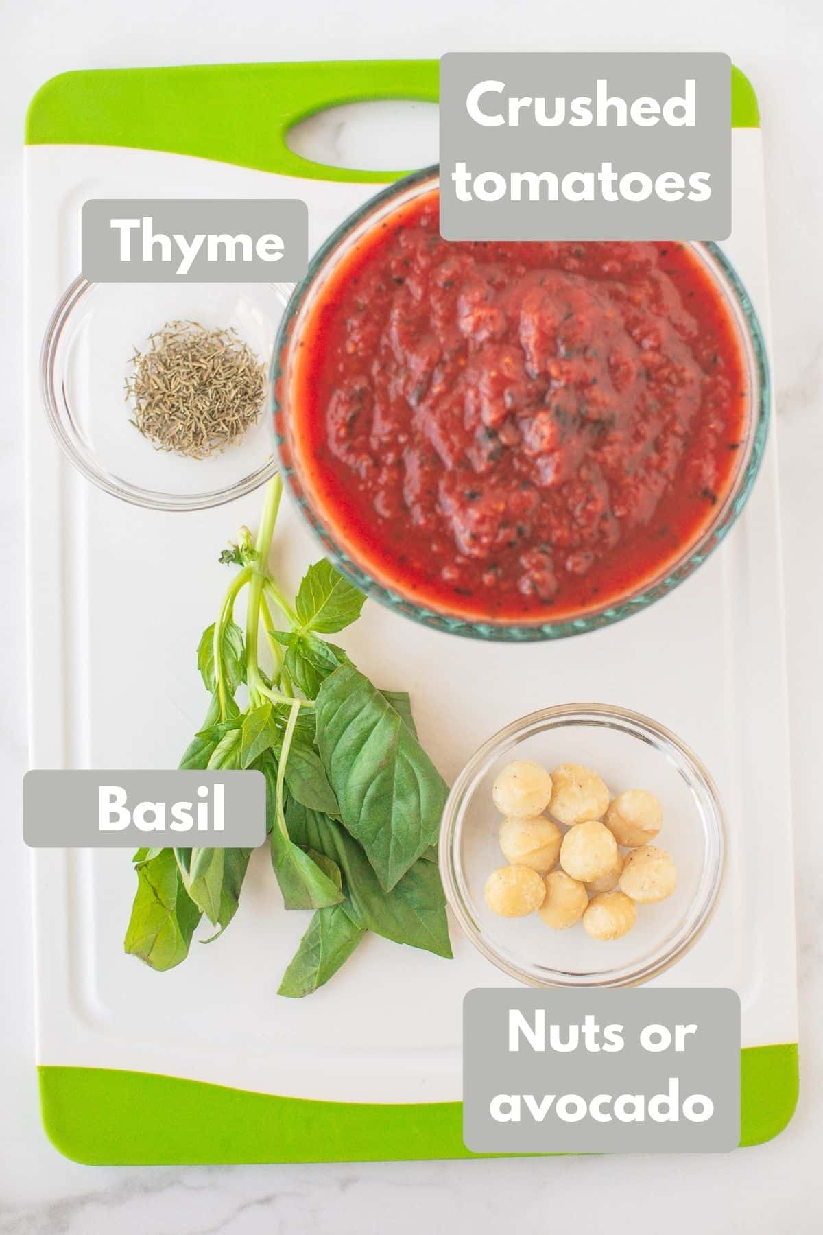 Labeled photo with ingredients for vegan tomato soup