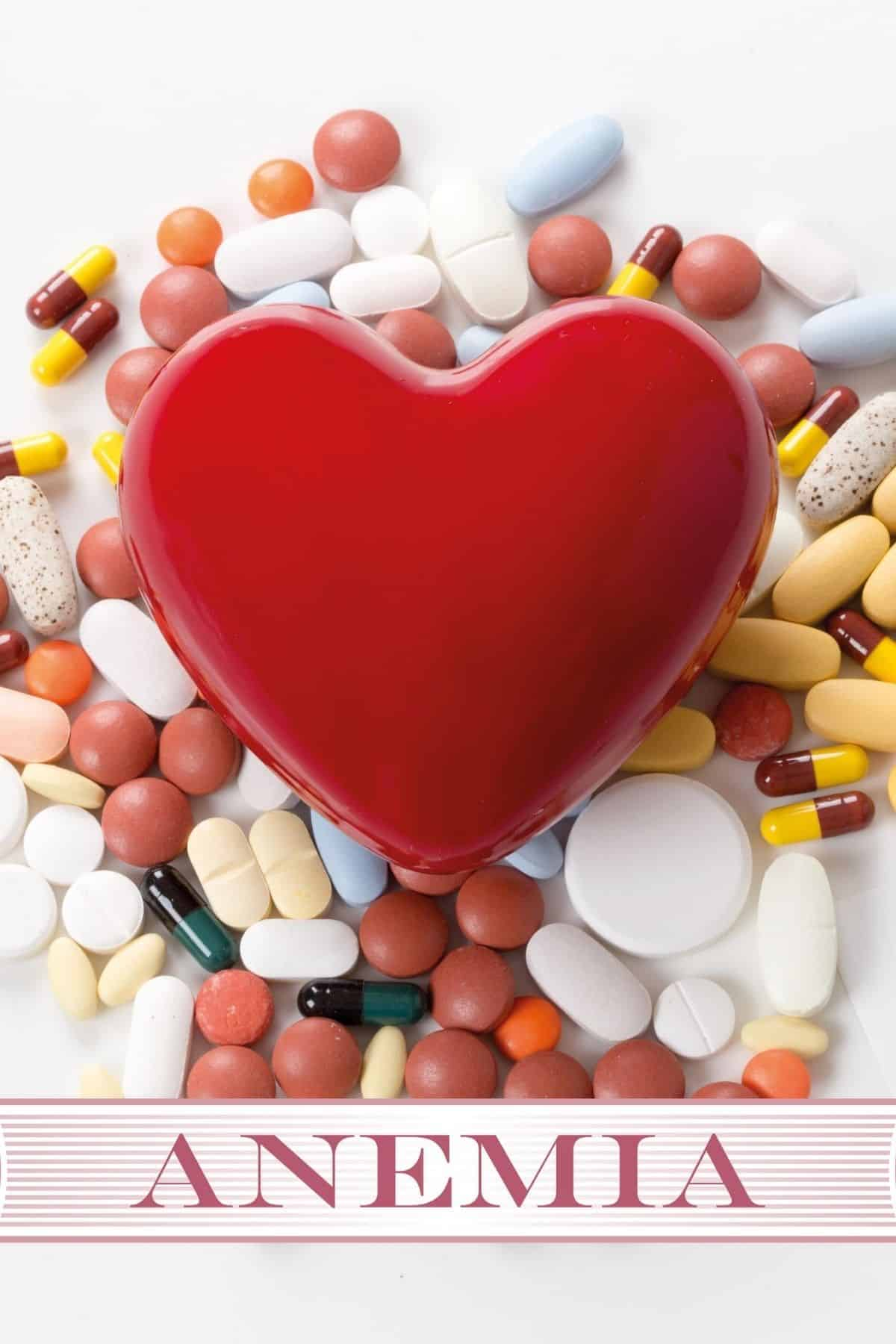 anemia graphic with a red heart and pills