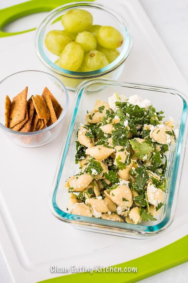 banza chickpea pasta salad meal prep