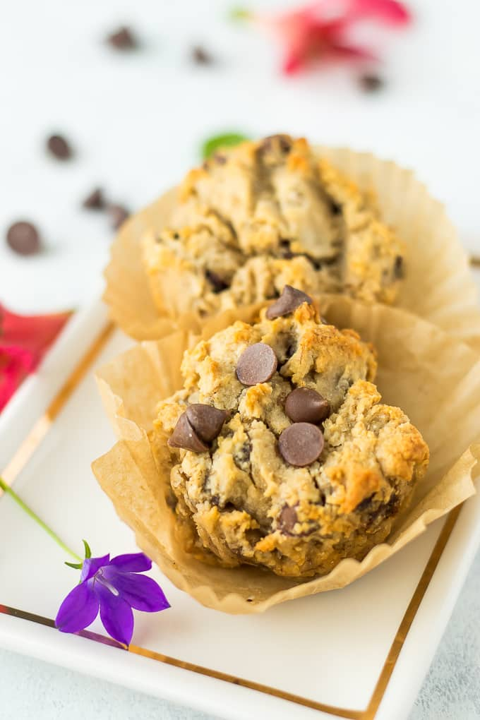cassava flour muffins with chocolate chips and flowers