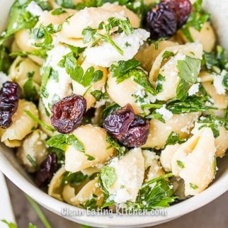 chickpea pasta salad with cranberries
