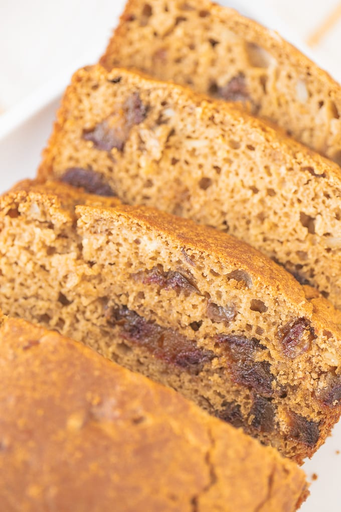 slices of date nut bread