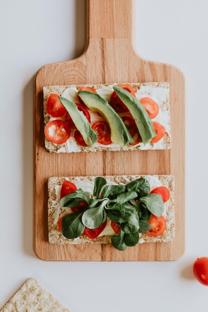 healthy toast on a cutting board